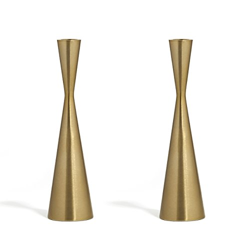 - LampLust 2 Brass Finished Taper Candle Holders, 9 Inches, Metal, Hourglass Shape, Fits Standard Candlestick Diameters