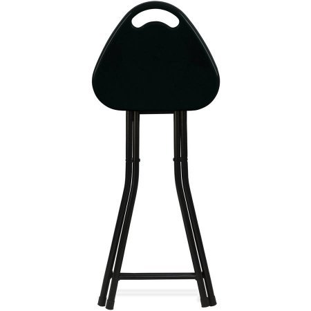 Mainstays Metal Folding Stool with Handle Triangular Shaped, Black