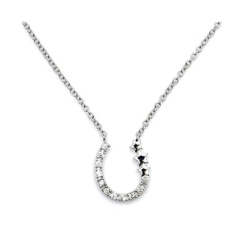 Sterling Silver Cubic Zirconia Horseshoe & Stars (Tiffany Horseshoe Necklace)