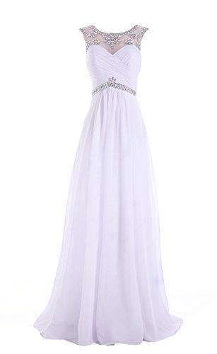 Edelsteinbesetztes Abend Ball Chiffon missydress A 'bridesmaid Weiß Line dress49 Damen qttwZY