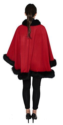 Cashmere Pashmina Group: Cashmere Cape with genuine Fox Fur Trim all around (Lipstick Red/ Black) by Cashmere Pashmina Group (Image #2)