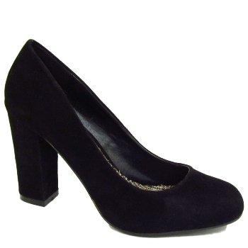 Ladies Black Block Heel Secretary Round Toe Court Shoes: Amazon.co
