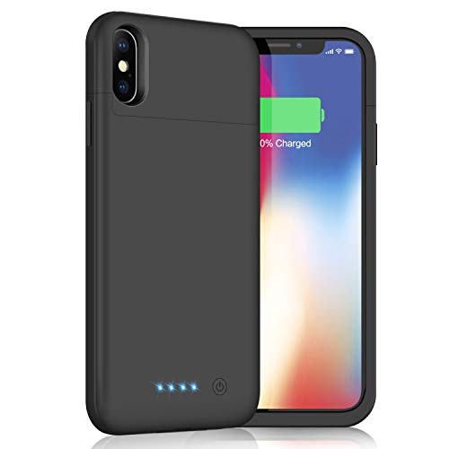 Battery Case for iPhone X/XS/10, Yacikos 5200mAh Portable Charging Case Rechargeable Extended Battery Pack for iPhone X/XS/10 (5.8) Protective Backup Power Bank Cover(Black)