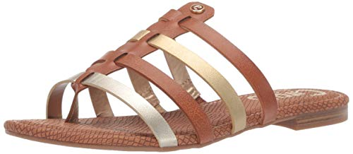 (Circus by Sam Edelman Women's Colby Flat Sandal, Saddle/Dark Gold/Jute New raw Edge 10 M US)
