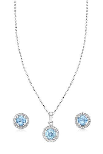 Carissima Gold - Parure collier et boucles d'oreilles - Femme - Or Blanc 375/1000 (9 Cts) 1.92 Gr - Diamant/Topaze