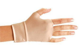 OccuNomix Large Beige Original Occumitts Nylon And Spandex Fingerless Therapeutic Support Gloves by (Occumitts Therapeutic Support Gloves)