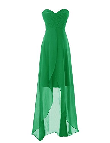 La Sweetheart En Mousseline De Soie Plissée Femmes Asbridal Haute Vert Faible Robe De Soirée De Bal