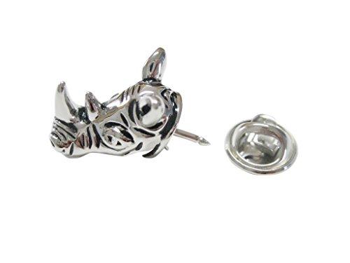 (Kiola Designs Silver Toned Rhino Head Lapel Pin)