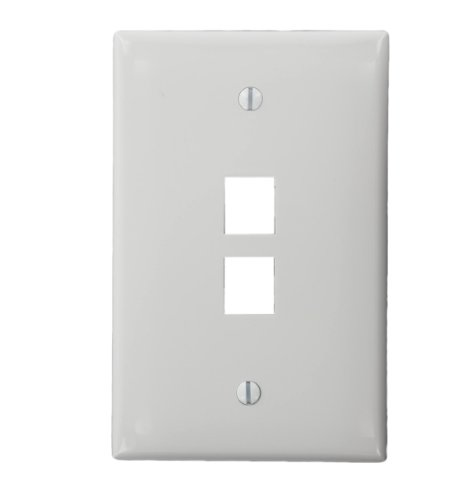 - Leviton 41091-2WN QuickPort Midsize Wallplate, Single Gang, 2-Port, White
