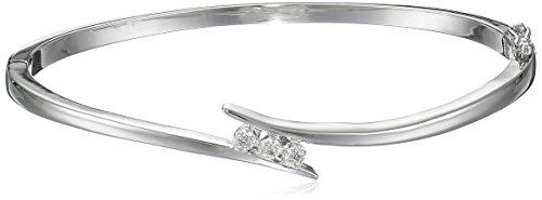 - Sterling Silver Diamond Bypass Bangle Bracelet, 7