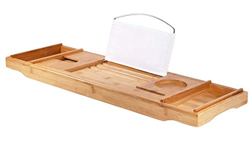 DOZYANT Bamboo Bathtub Caddy Tray Bathtub Rack, One or Two Person Bath Tray with Extending Sides for Towel Book Glass, with Two Tower Trays