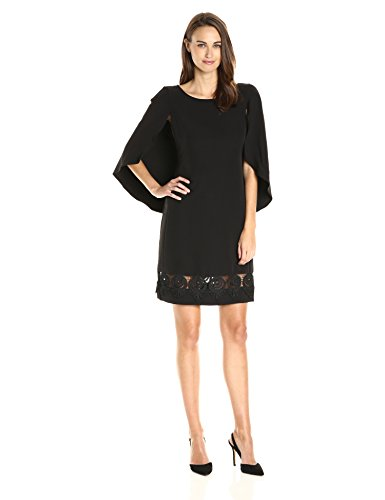 Yoana Baraschi Women's Ritz Capelet Dress with Lace, Black, 12