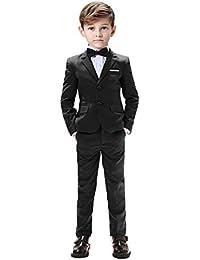 5ea32b57 Boys Suits 5 Pieces Slim Fit Blazer Pants Black Blue Outfit Suit for Wedding