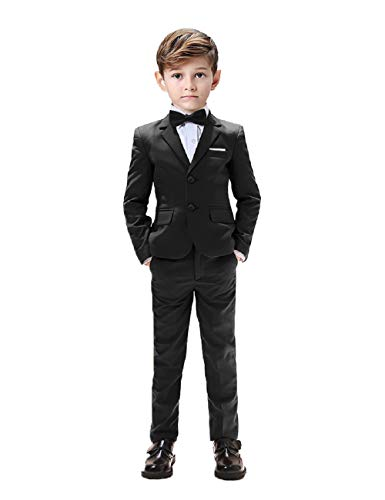 Kids Suits for Boys Tuxedo 5 Pieces Blazer Vest Pants Shirt Slim Fit Suits for Boys Size 6 Black