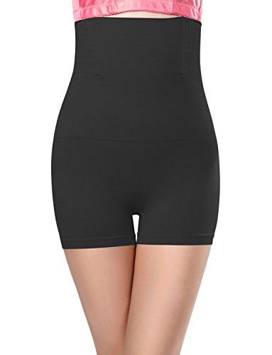 Control Boyshort - Le'sleeQ Womens Hi-Waist Boyshort Shaper Tummy Belly Control Shapewear Black M