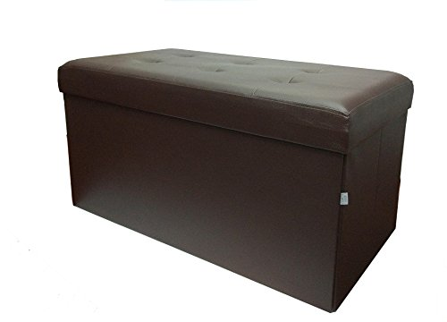 FOREST Leather Foldable Ottoman Storage Bench-Seat, Coffee/Side Table, Leg Rest, 36 Inch, Mocha Brown (F-7014)