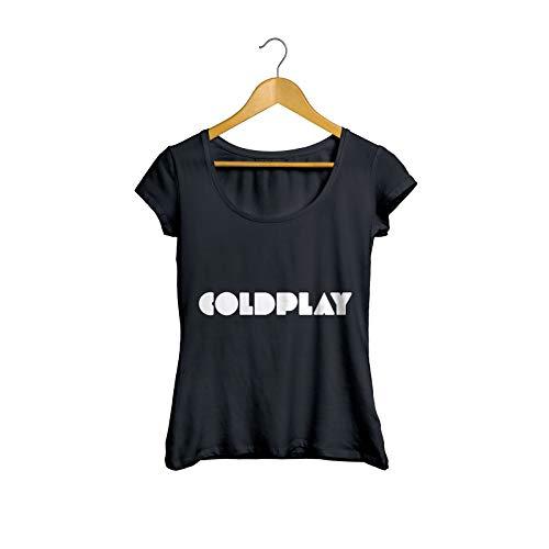 Camiseta Baby Look Coldplay Banda Feminino Preto Tamanho:M;Cor:Preto