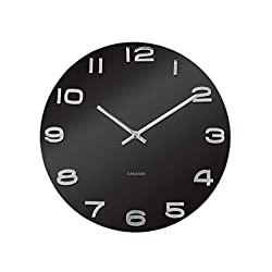 Present Time Karlsson Wall Clock Vintage Round Glass, Black