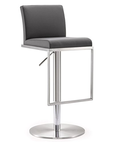 (TOV Furniture 16.5W x 17.7D x 31.5 - 41.15H inches- 33lbs  Amalfi Stainless Steel Adjustable Barstool ,Grey)