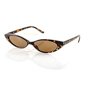 FBL '90s Vintage Extreme Wide Slim Futuristic Cat-Eye Sunglasses A130 (Tortoise/ Brown)