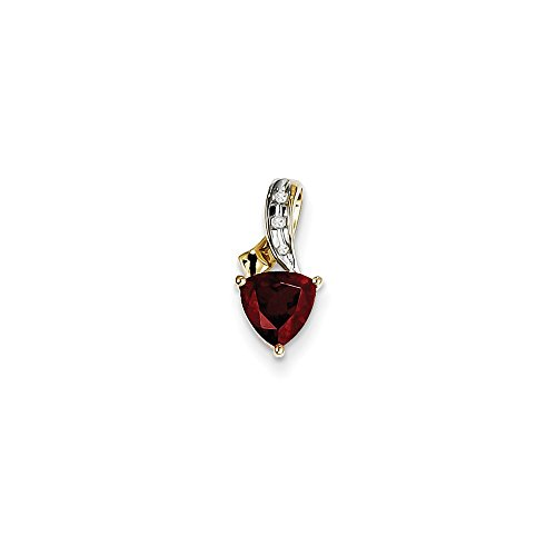 Trillion Pendant 15mm (Solid 14k Yellow Gold Diamond and Simulated Garnet Trillion Pendant (7mm x 15mm))