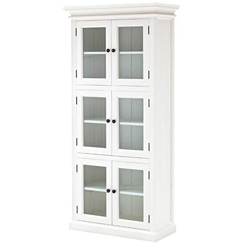 NovaSolo Halifax Pure White Mahogany Wood Storage Cabinet/Pantry Unit With Glass Doors And 6 Shelves by NovaSolo