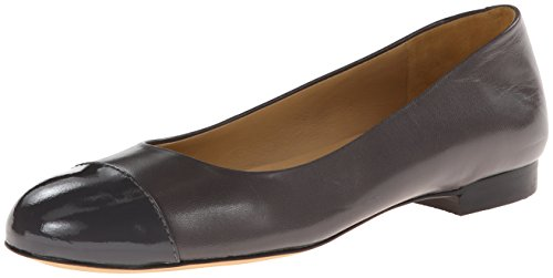 Trotters Womens Chic Leather Ballet Flat Dark Grey