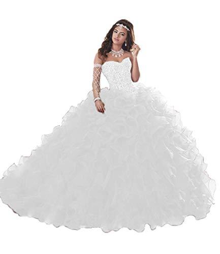 (Wanshaqin Women's Heavy Beaded Sweetheart Ball Gowns Dresses Organza Ruffles Quinceanera Dresses for Sweet 16 White)
