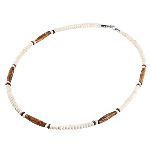 HZMAN Buffalo Bone Native American Inspired Tribal Style Collar Choker Necklace (Brown)
