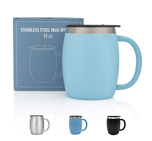 Stainless Steel Coffee Mug with Lid - 14 Oz Double Walled Insulated Coffee Beer Mugs - Light Blue - Best Value - BPA Free Healthy Choice - Shatterproof and Spill ()