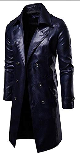 Blue Men's Long Midi TTYLLMAO Overcoat Double Parka Breasted Slim Navy Coats Fit OwcdqPT