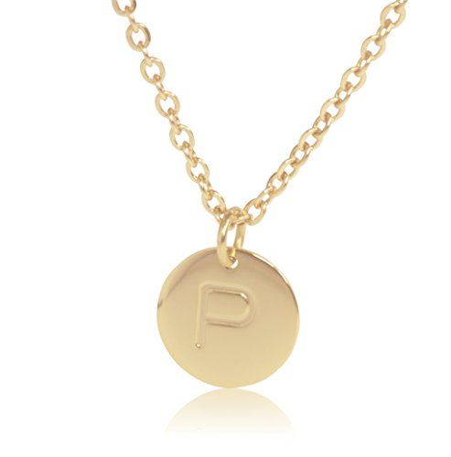 Gold Plated Flower Charm - 18K Gold-Plated Round Disc Engraved Initial Pendant 18