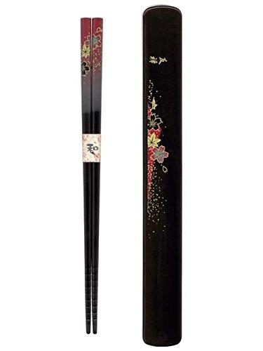 Japanese Lacquer Chopsticks Chop stick Travel w// case Red