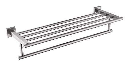 (QT Home Decor Premium Modern Single Hanging Quadruple Towel Rack Bar w/Square Base (24 Inches), Brushed Finish, Stainless Steel, Water and Rust Proof, Wall Mounted, Easy to Install)
