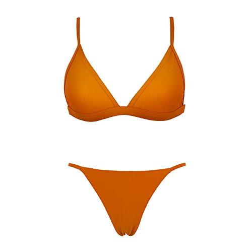 X-HERR Mujer Impresión de Mármol Triángulo Top Trasero Descarado Trajes de baño Bikini Marrón