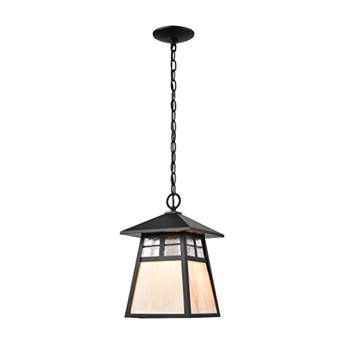 Elk Lighting 87053/1 Cottage 1-Light Matte Black with Antique White Art Clear Textured Glass Hanging,