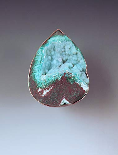 Chrysocolla Druzy Ring- Druzy Crystals- Rare Gemstone- Smoky Copper- Big Chunky Ring- Adjustable Size- Copper Statement Ring