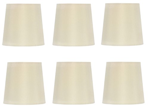 Upgradelights Set of 6 Silk Chandelier Lamp Shades 5 Inch Euro Style Drum Eggshell Silk 4x5x4.5 (Silk Chandelier)