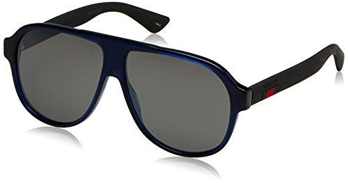 Gucci Men GG0009S 59 Blue/Silver Sunglasses - Aviator Gucci