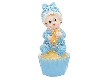 Tortenfigur Baby Auf Muffin Blau Taufe Babyparty