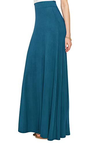 WDR1434 Womens Solid Maxi Skirt with Elastic Waist Band XXL TEAL