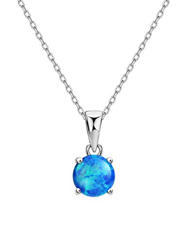 Mints Blue Opal Pendant Necklace 4 Prongs Setting Solitaire Fine Jewelry for Women ()