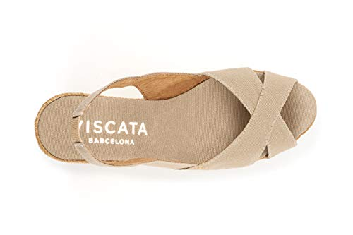 Zapatos Trasera Mauve Parte Con Elástico Abierta Cm 5 La Fabricados Esparto Viscata De Punta Cuña En España rWA4Bra