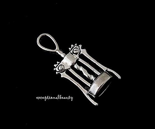 10 Antique Silver Corkscrew Wine Kitchen Beads Drop 3D Two Sided Pendant Charms