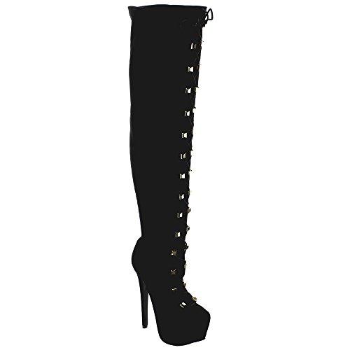 WILDROSE ELLE80 Women Almond Toe Lace Up Platform Stiletto Over Knee High Boots, Color:BLACK, Size:7
