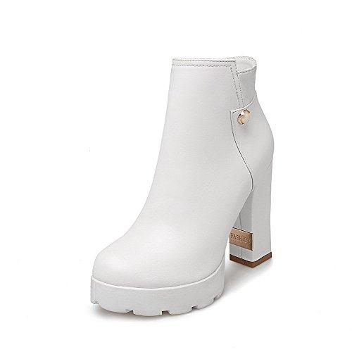 Lukket blandingsmaterialer White Kvinners Støvler top Tå plattform Rund Faste Allhqfashion Lav BXwtq