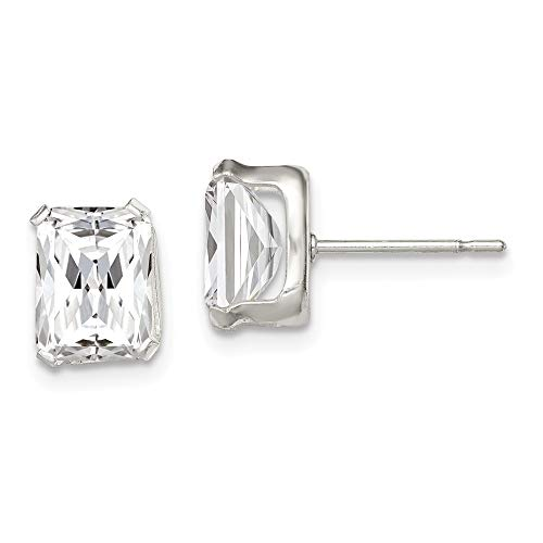 - 925 Sterling Silver 8x6 Basket Set Cubic Zirconia Cz Stud Earrings Radiant Fine Jewelry Gifts For Women For Her