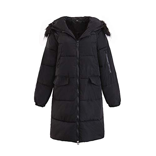 chaude noir avec pour poche femmes en capuche pour coton à manteau long d'hiver trench veste Manteaux glissière femmes Feixiang uni veste Parka à BFax6qw