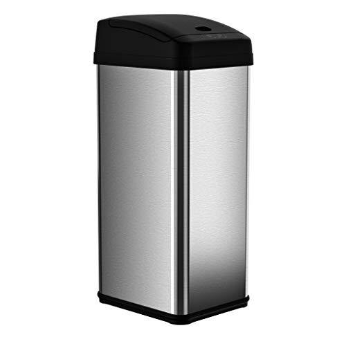 iTouchless Square Stainless Steel Touchless Trash Can MX, 13 Gallon, Silver/Black ()