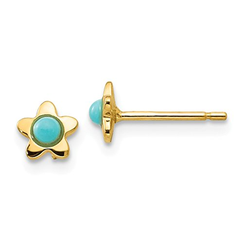 14k Yellow Gold Blue Turquoise Star Post Stud Ball Button Ea